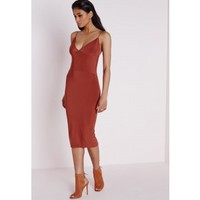 Missguided - Slinky Midi Dress Rust