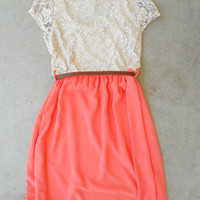 .Lace & Peach Dress [5898] - $28.80 : Vintage Inspired Clothing & Affordable Dresses, deloom | Modern. Vintage. Crafted.