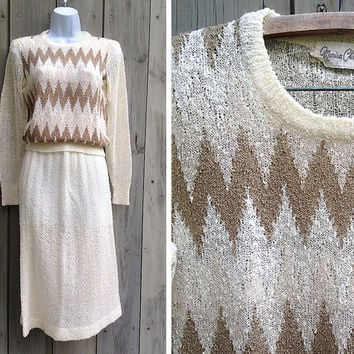 Vintage knit set | 1980s vintage chevron knit sweater and skirt set