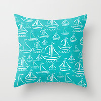Sail Away Turquoise Throw Pillow by Lisa Argyropoulos