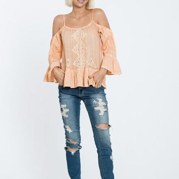 Peplum Cold Shoulder Embroidered Top