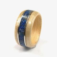 Bentwood Ring Maple with Lapis inlay and Sterling Silver accents