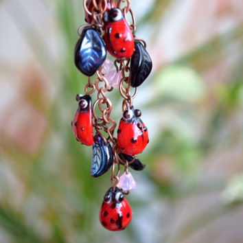 Ladybug Girls necklace Lampwork jewelry baby jewelry Kids necklace ladybugs beads jewelry insect necklace Baby Girl jewelry Baby girl gift