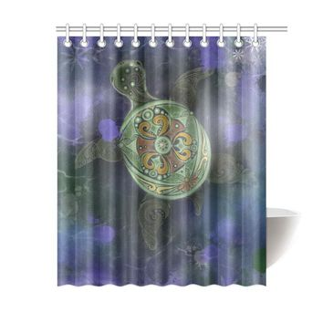 Sea Turtle Polyester Shower Curtain 60x72 inch