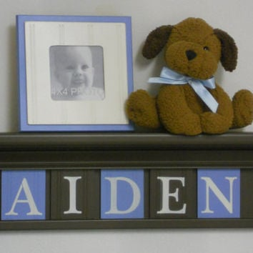 "Baby Boy Nursery Wall Shelves -  24"" Chocolate Brown Shelf and 5 Pastel Blue and Brown Wall Letter - Personalized for AIDEN"