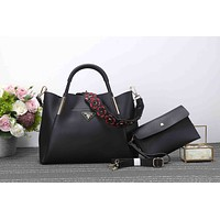 Prada Fashion Ladies Shopping Pure Color Flower Strap Leather Satchel Bag Shoulder Bag Handbag Crossbody Set Two Piece Black I-XS-PJ-BB