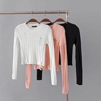 Cut Out Hole Long Sleeves Scoop Short Crop Sweater