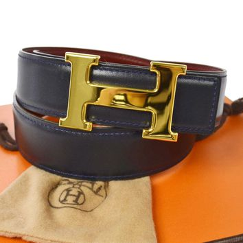 Auth HERMES Vintage H Logos Buckle Constance Reversible Belt Leather JT03776