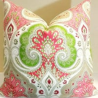 Kravet - Decorative Pillow Latika Paisley Pillow Cover in Geranium - Damask Medallion Ikat Pillow Cover - 12 Sizes Available