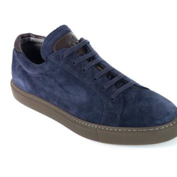 Brunello Cucinelli Men's Blue Kudu Suede Sneakers