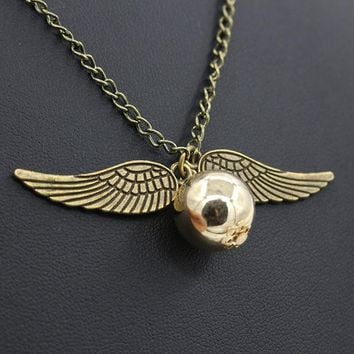 HOMOD Fashion Harry Potter Necklace Men Vintage Style Angel Wing Charm Golden Snitch Pendent Necklace For Men Necklace