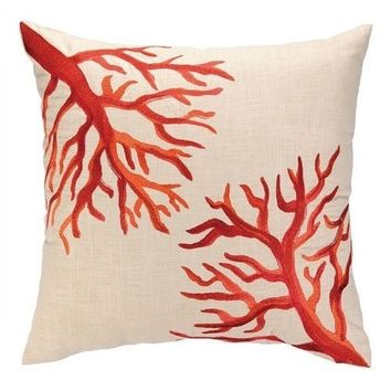 Red Coral Embroidered Throw Pillow