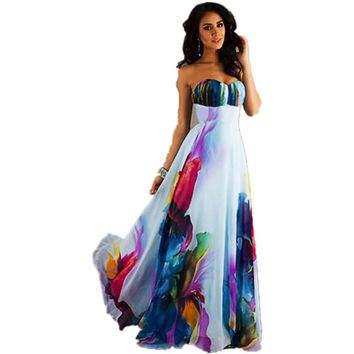 Floral Maxi Dress Women Sexy Bohemian Strapless Printed Long Dress Off Shoulder 2018 Summer Beachwear Party Boho Dress Lyq60