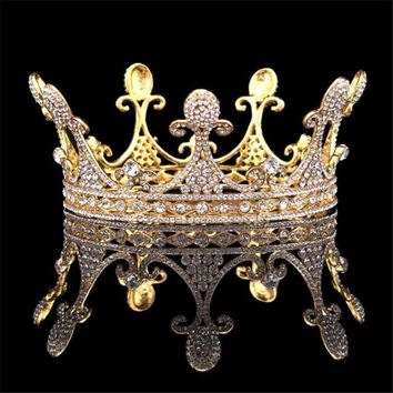 Vintage Baroque Queen King Bride Tiara Crown Cosplay Renaissance