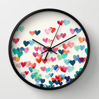 Heart Connections - watercolor painting Wall Clock by Micklyn