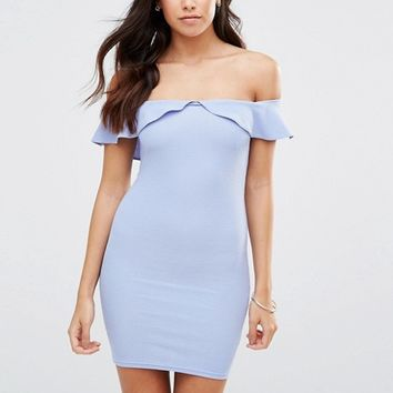 Oh My Love Bardot Frill Bodycon Dress at asos.com