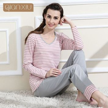 Qianxiu Brand Pajamas Cotton Stripes Sleepwear Long Sleeve Lounge Wear O Neck Women Pajama Set