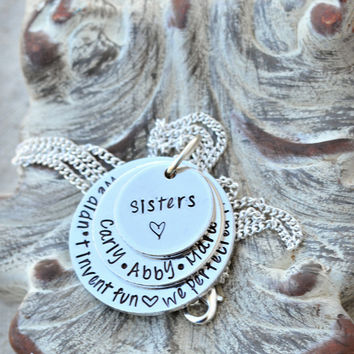 Personalized Sisters Necklace - Sisters by Heart - Sorority Sisters - Best Friend Gift - BFF Jewelry - Forever Friends - Sorority Sister
