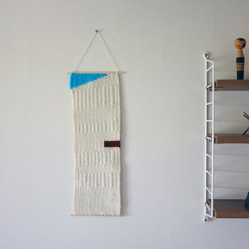 """Hand Woven Wall Hanging - """"Blue Triangle"""" - 6"""" x 17"""""""
