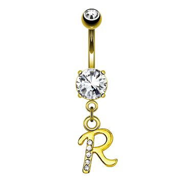 BodyJ4You Belly Ring Button Navel Dangle Yellow Gold Letter R Initial Piercing Jewelry