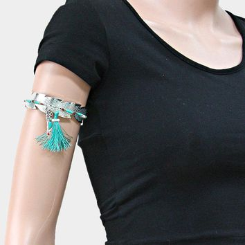 Beaded Metal Feather Arm Cuff Bracelet With Arrow & Tassel Charm
