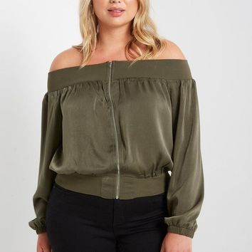 Ritter Satin Off the Sholder Top Plus Size