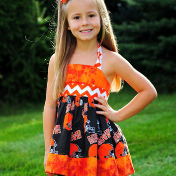 NFL or NCAA Licensed Cleveland Browns fabric Custom Halter Top/Boutique Dresses/Girls Clothing/Football team clothing