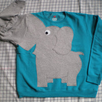 Elephant Trunk sleeve sweatshirt sweater jumper LADiES S PEACOCK Blue