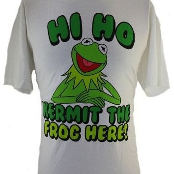 "The Muppets Kermit The Frog Mens T-Shirt - ""Hi Ho Kermit the Frog Here"" Kermit Image on White (XX-Large)"