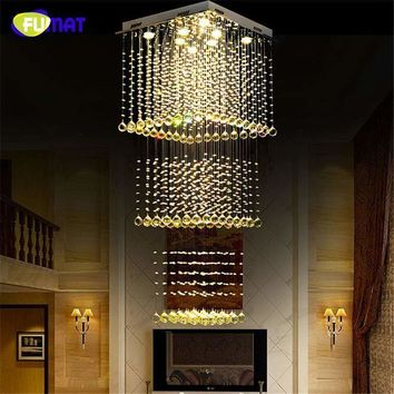 FUMAT k9 Crystal Chadeliers Modern K9 Crystal LED Art Fashion Hotel Project Stairs Lamp Living Room Lustre Ceiling Light Fixture