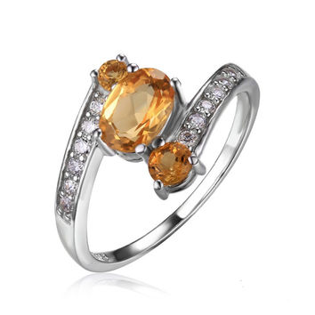 Silver 0.9ct Natural Citrine 3 Stone Anniversary Ring