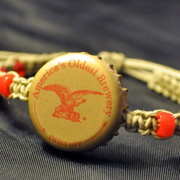 Red and Gold Yuengling Recycled Beer Cap Hemp Fully Adjustable Size Bracelet - Beach, surfer