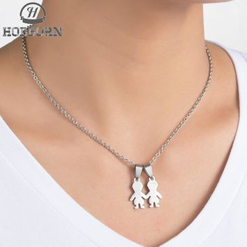 HOBBORN Lovely Women Pendants & Necklaces 316L Stainless Steel Child Mother Family Serise Pendant Female Necklace Jewelry Bijoux