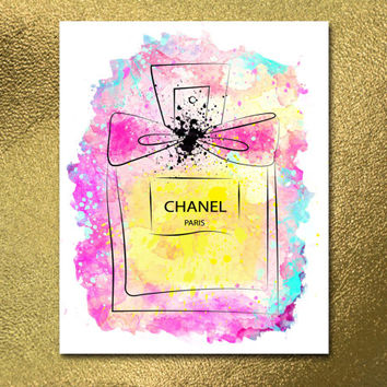 Printable Chanel INSTANT DOWNLOAD, Parfume Chanel Logo Print 10x8 Poster White & Gold Wall Art Decor Poster Fashion Chanel Decor