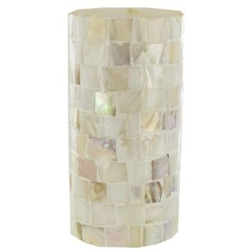 """3"""" x 6"""" Mother of Pearl Mosaic Pillar Candle 