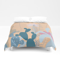 Blue Cacti Garden #Society6 #buyart #decor Duvet Cover by mirimo
