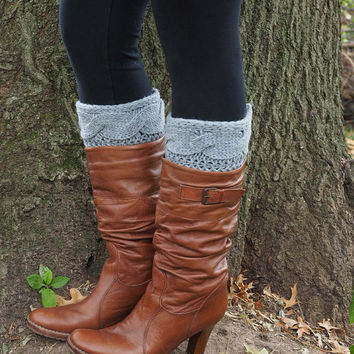 Boot Socks-Full Sock Included-Boot Cuffs-Knee HIgh Boot Socks-Lace Socks-Wool-Cable Knit-Knee High Socks