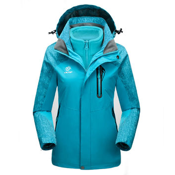 Winter 2pieces Set Women Softshell Jacket & Inner Fleece Jackets Hiking Waterproof Windproof Thermal Outdoor Camping Coats RW015