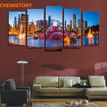 Unframed 5 Panels City Night Scenery Home Wall Decor Canvas Painting Modern Print Wall Art Picture For Room Decoration Artwork