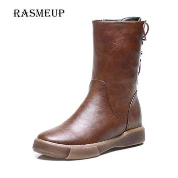 RASMEUP England Vintage Women Mid Calf Boots Autumn Winter Plush Warm Woman Retro Flat Martin Boots Back Lace Up Women's Shoes