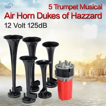 Hot 5Pcs 125DB Black Trumpet Musical Dixie Car Duke of Hazzard + Compressor 12V Car Air Horn