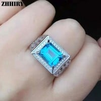 ZHHIRY Men Gemstone Rings Genuine Natural Topaz 925 Sterling Silver Man Ring Real Precious Blue