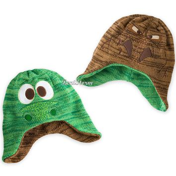 Licensed cool The Good Dinosaur ARLO & T-Rex Reversible beanie hat for KIDS Disney Store NEW
