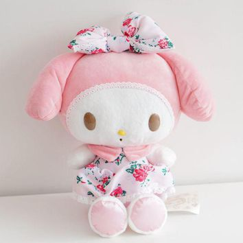 Kawaii 1pcs 35cm Cartoon Hello Kitty With Cake My Melody With Cloth Plush Toy Stuffed Doll For Girls Lovers Kids Birthday Gifts