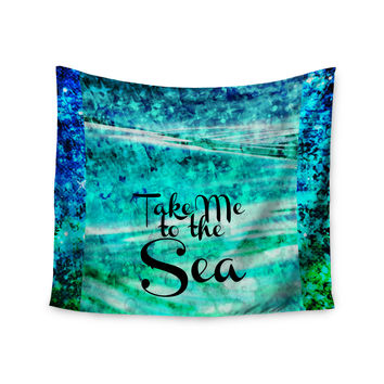 "Ebi Emporium ""Take Me to the Sea"" Aqua Glitter Wall Tapestry"