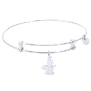 Sterling Silver Confident Bangle Bracelet With Angel Charm