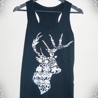 Women Tee Deer Shirt Flower Tank top size S M L XL flower Deer tank top Fashion Country  Black Ladies Cotton shirt singlet sleeveless