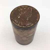 Sterling Cylinder Container France Medal. Roi de France. Fils de Louis le Begue.