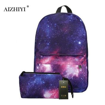 University College Backpack 2Pcs Women  for Teenage Girls School  Stars Universe Space Printing Canvas Female  for  StudentsAT_63_4