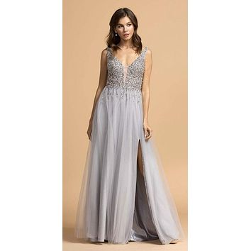 3dc4070319b Beaded Bodice Long Prom Dress with Slit Gray